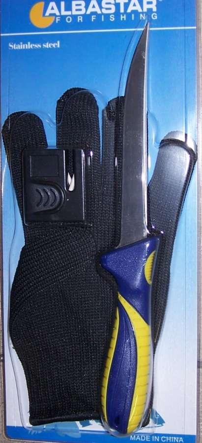 Sada - filetovací nůž , brousek , rukavice Albastar